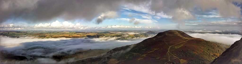 panoramic view from Eildon Hill Scottish Borders